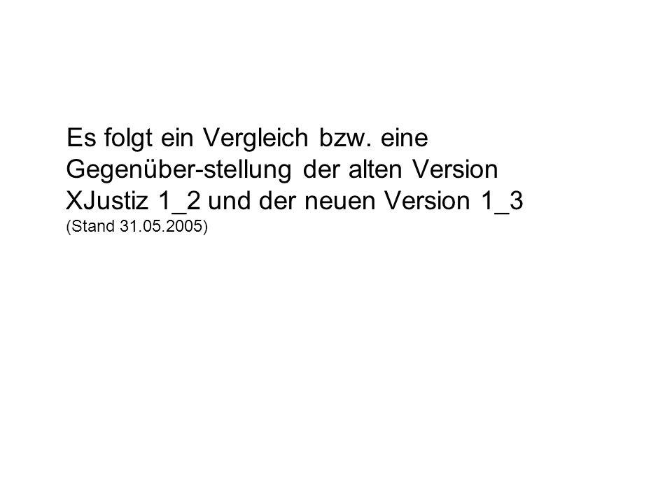 Es folgt ein Vergleich bzw. eine Gegenüber-stellung der alten Version XJustiz 1_2 und der neuen Version 1_3 (Stand 31.05.2005)