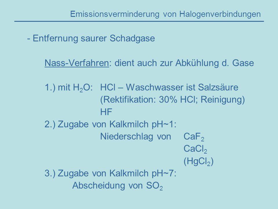 Emissionsverminderung von Halogenverbindungen - Entfernung saurer Schadgase Nass-Verfahren: dient auch zur Abkühlung d.