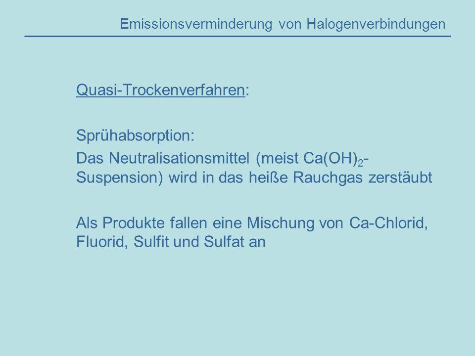 Emissionsverminderung von Halogenverbindungen Quasi-Trockenverfahren: Sprühabsorption: Das Neutralisationsmittel (meist Ca(OH) 2 - Suspension) wird in das heiße Rauchgas zerstäubt Als Produkte fallen eine Mischung von Ca-Chlorid, Fluorid, Sulfit und Sulfat an