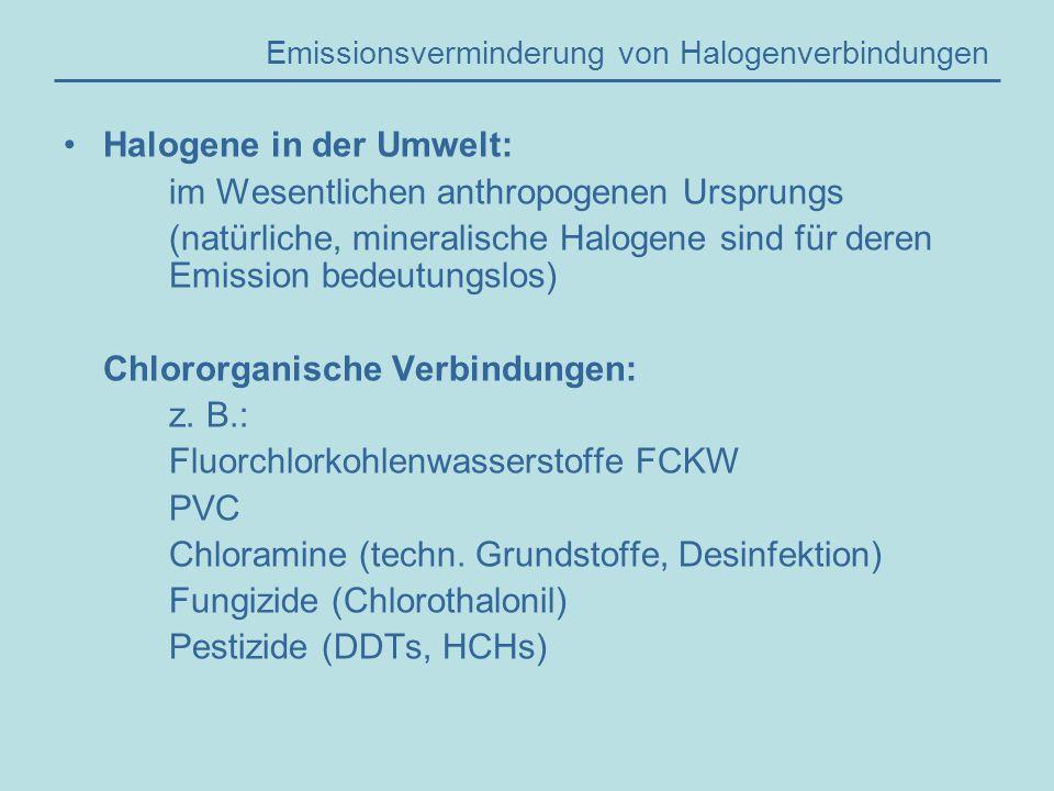 Emissionsverminderung von Halogenverbindungen Halogene in der Umwelt: im Wesentlichen anthropogenen Ursprungs (natürliche, mineralische Halogene sind für deren Emission bedeutungslos) Chlororganische Verbindungen: z.