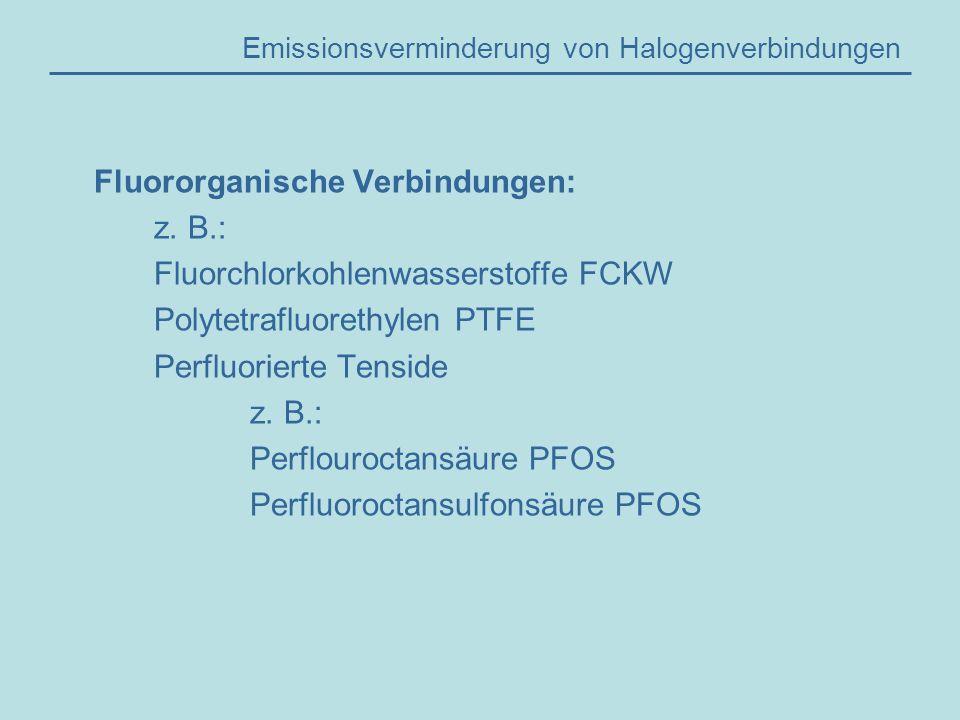 Emissionsverminderung von Halogenverbindungen Fluororganische Verbindungen: z.