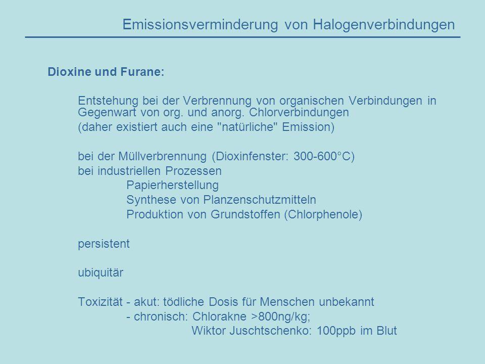 Emissionsverminderung von Halogenverbindungen Emissionsminderung von Halogenverbindungen: - Bannung von PVC und FCKW - Optimierung der Prozessführungen bei der Herstellung halogenierter Grundstoffe - Verringerung der Emissionen aus Müllverbrennungsanlagen