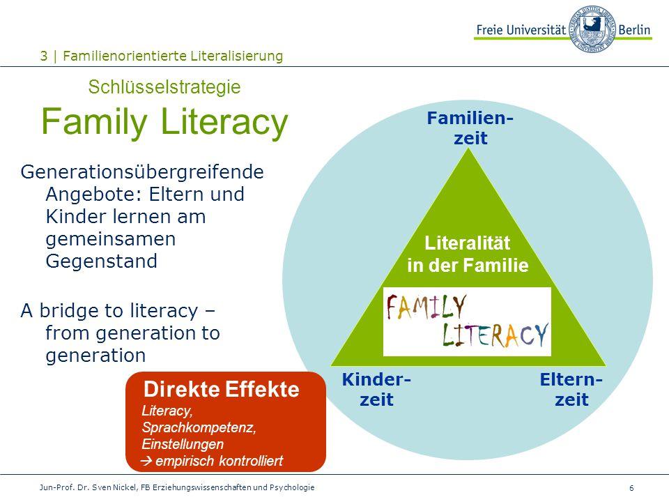 6 Literalität in der Familie Kinder- zeit Eltern- zeit Schlüsselstrategie Family Literacy Generationsübergreifende Angebote: Eltern und Kinder lernen
