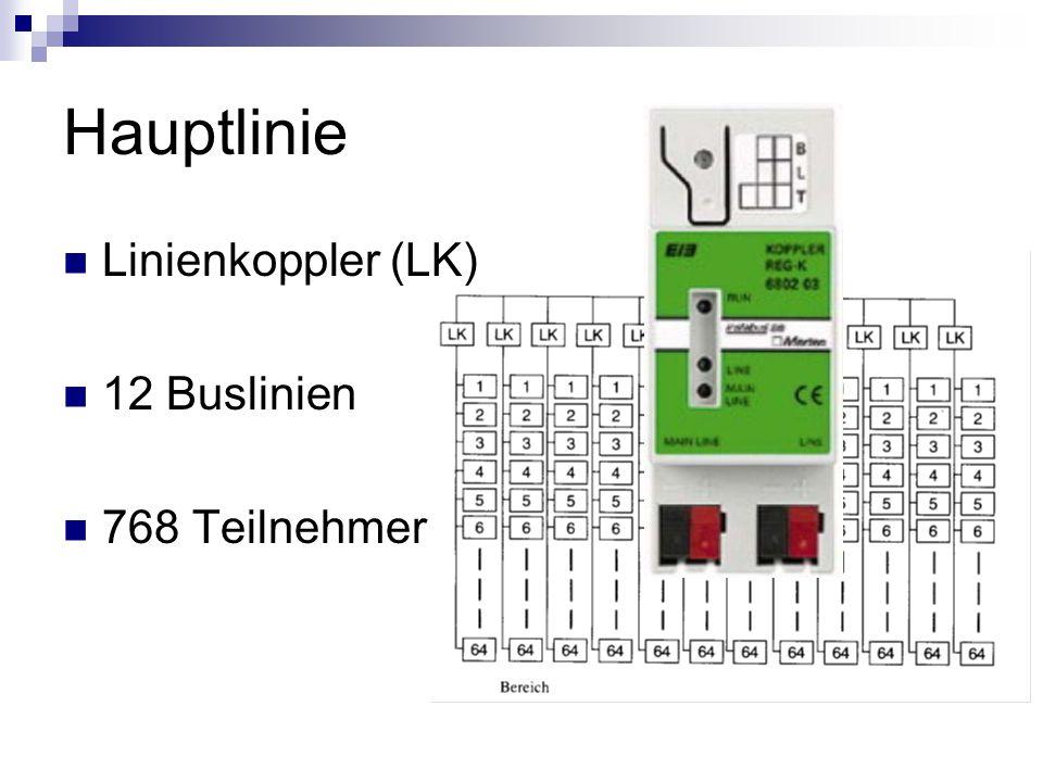 Hauptlinie Linienkoppler (LK) 12 Buslinien 768 Teilnehmer
