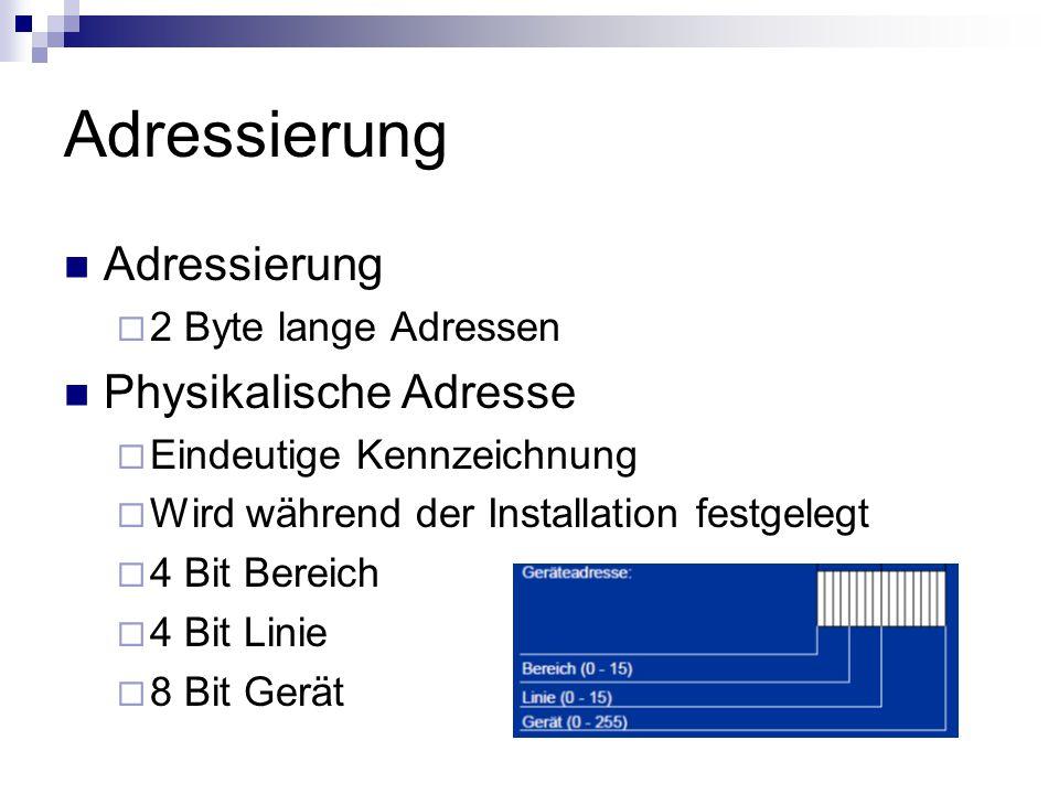 Adressierung 2 Byte lange Adressen Physikalische Adresse Eindeutige Kennzeichnung Wird während der Installation festgelegt 4 Bit Bereich 4 Bit Linie 8