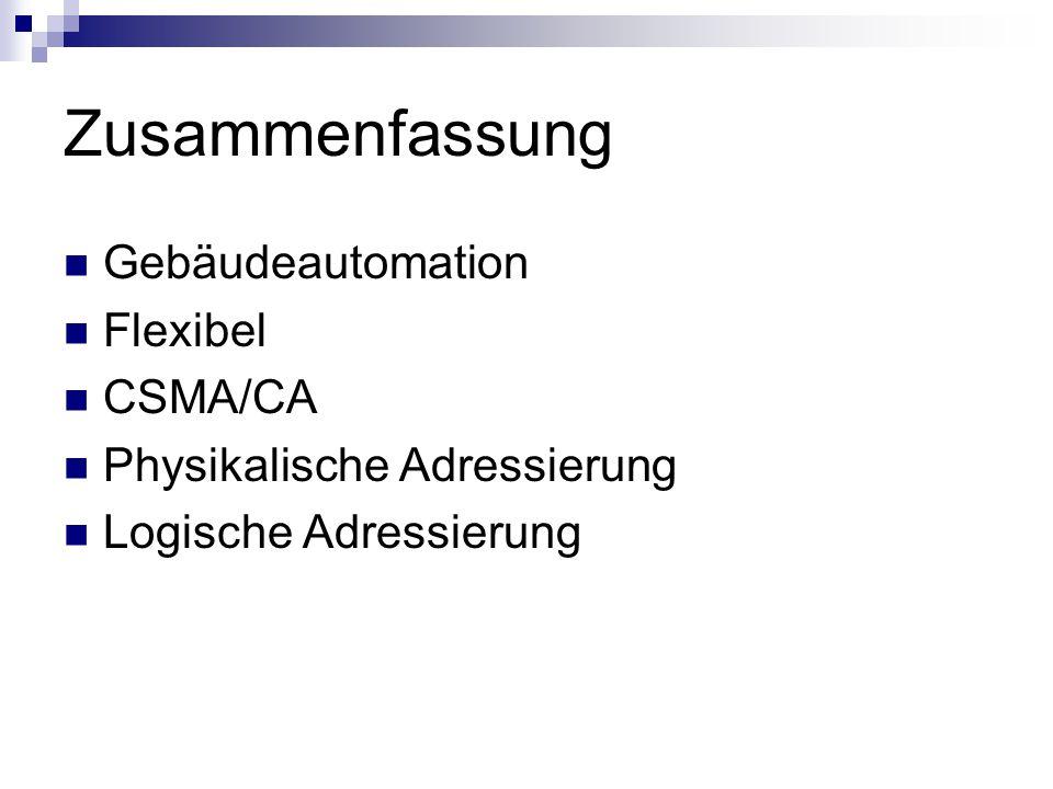 Zusammenfassung Gebäudeautomation Flexibel CSMA/CA Physikalische Adressierung Logische Adressierung