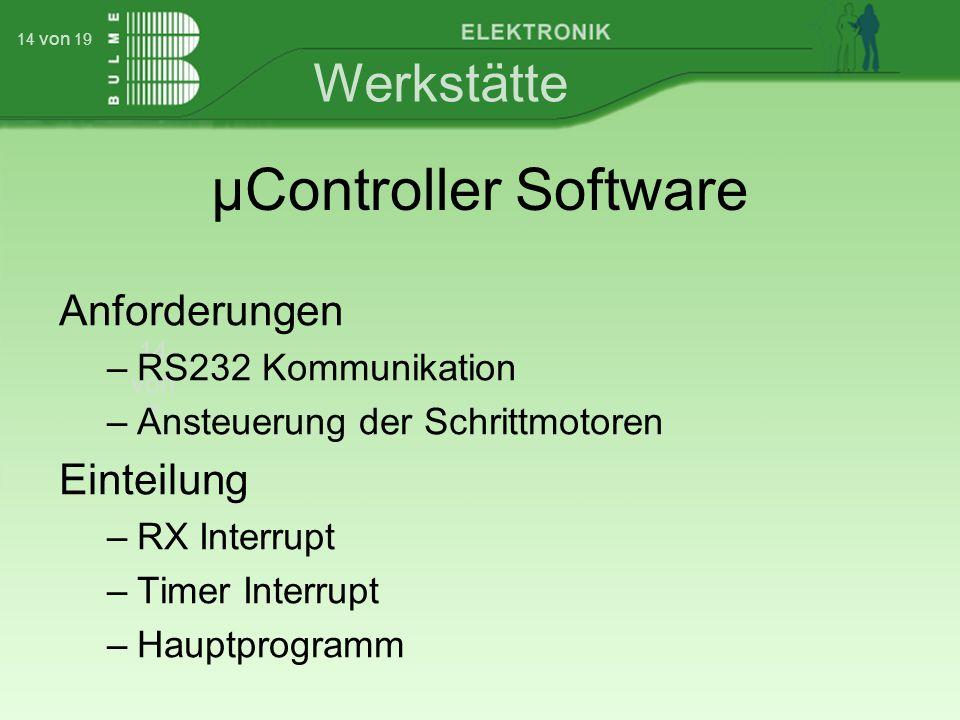 Werkstätte 14 von 7 14 von 19 µController Software Anforderungen –RS232 Kommunikation –Ansteuerung der Schrittmotoren Einteilung –RX Interrupt –Timer Interrupt –Hauptprogramm