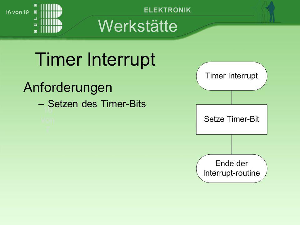 Werkstätte 16 von 7 16 von 19 Timer Interrupt Anforderungen –Setzen des Timer-Bits