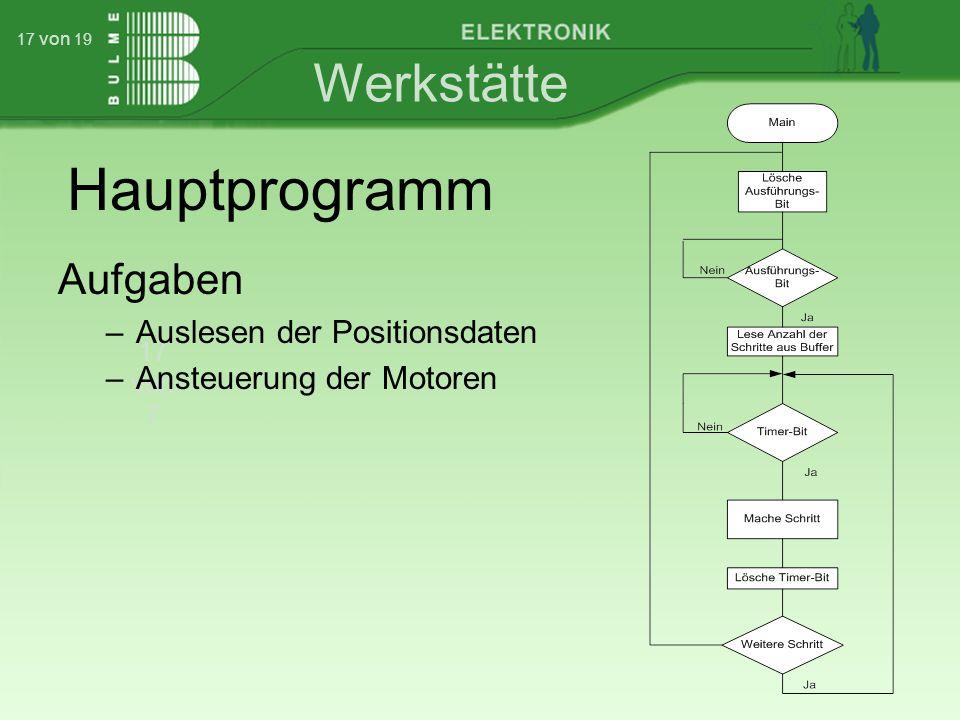 Werkstätte 17 von 7 17 von 19 Hauptprogramm Aufgaben –Auslesen der Positionsdaten –Ansteuerung der Motoren