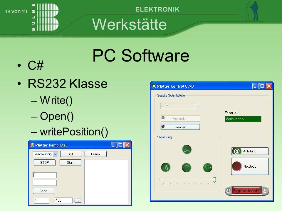 Werkstätte 18 von 7 18 von 19 PC Software C# RS232 Klasse –Write() –Open() –writePosition()