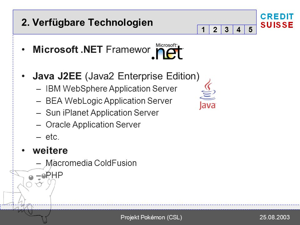 12345 Projekt Pokémon (CSL)25.08.2003 2. Verfügbare Technologien Microsoft.NET Framework Java J2EE (Java2 Enterprise Edition) –IBM WebSphere Applicati