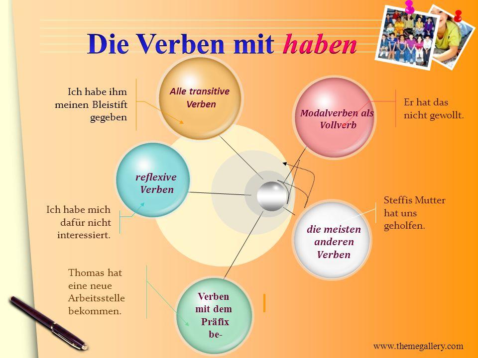 www.themegallery.com Alle transitive Verben reflexive Verben mit dem Präfix be- die meisten anderen Verben Modalverben als Vollverb Er hat das nicht g