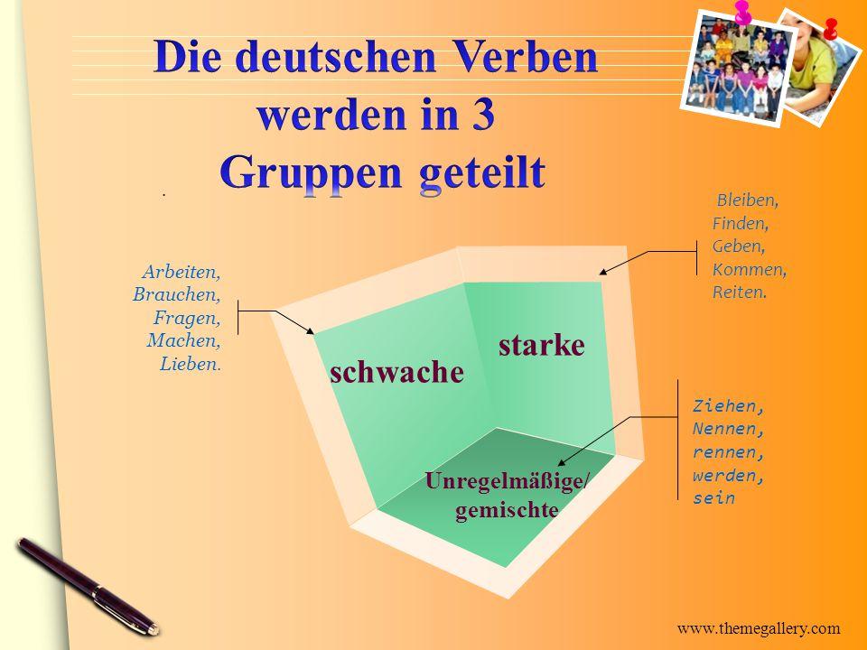 www.themegallery.com schwache starke Unregelmäßige/ gemischte Bleiben, Finden, Geben, Kommen, Reiten. Ziehen, Nennen, rennen, werden, sein Arbeiten, B