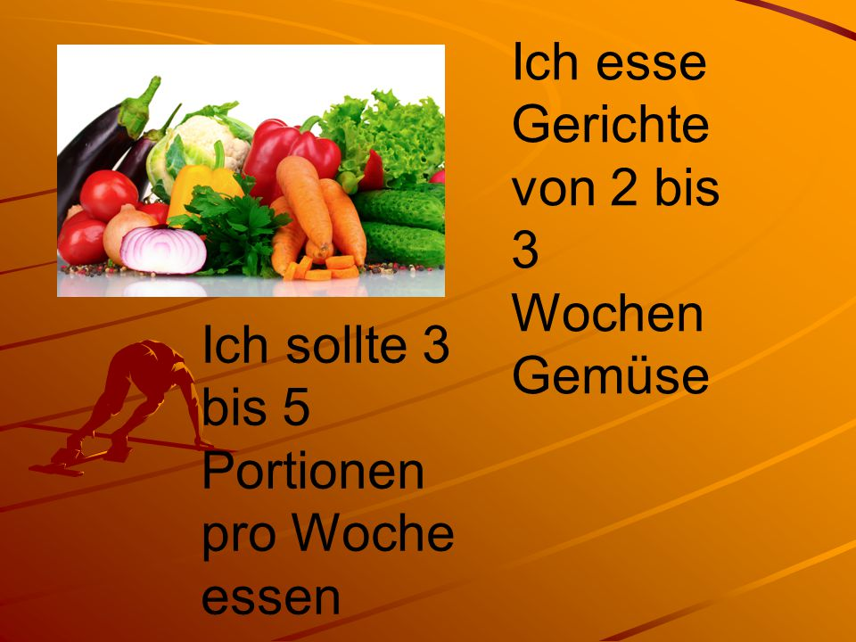 Ich esse Gerichte von 2 bis 3 Wochen Gemüse Ich sollte 3 bis 5 Portionen pro Woche essen