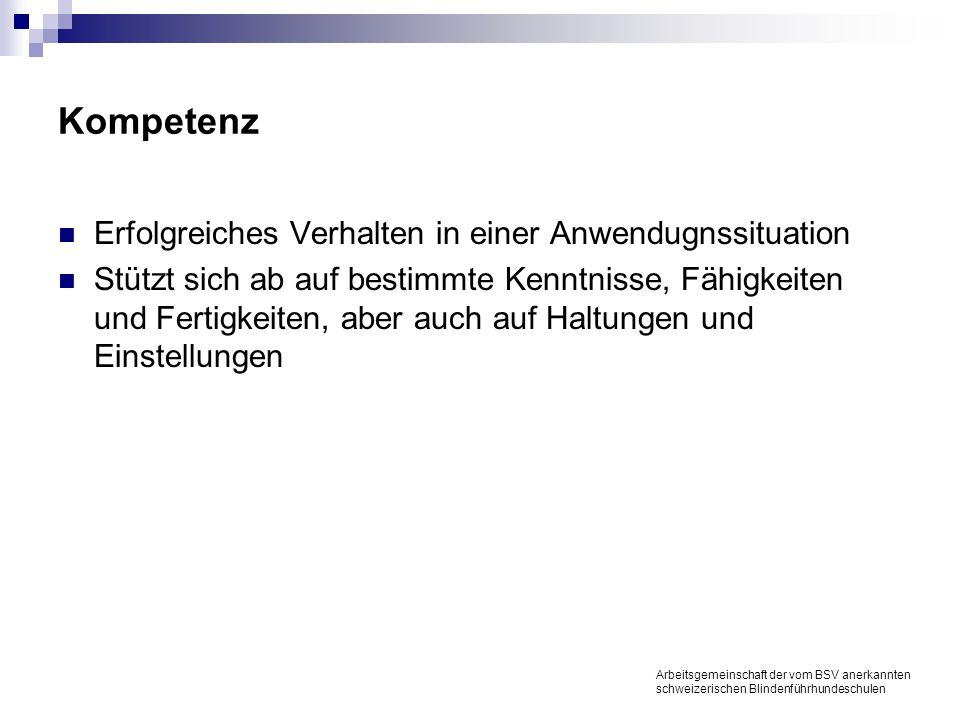 Kompetenz Erfolgreiches Verhalten in einer Anwendugnssituation Stützt sich ab auf bestimmte Kenntnisse, Fähigkeiten und Fertigkeiten, aber auch auf Haltungen und Einstellungen Arbeitsgemeinschaft der vom BSV anerkannten schweizerischen Blindenführhundeschulen