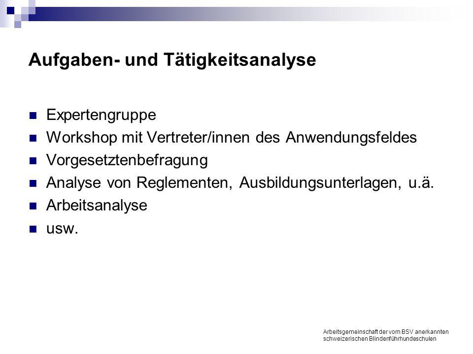 Aufgaben- und Tätigkeitsanalyse Expertengruppe Workshop mit Vertreter/innen des Anwendungsfeldes Vorgesetztenbefragung Analyse von Reglementen, Ausbildungsunterlagen, u.ä.