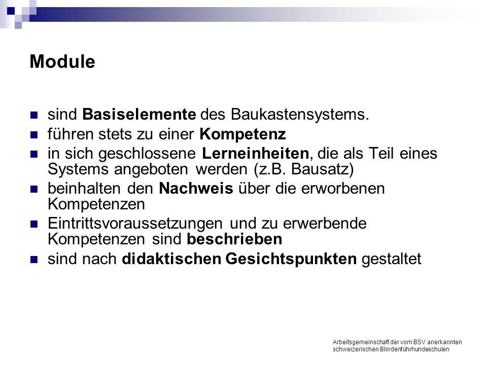 Module sind Basiselemente des Baukastensystems.