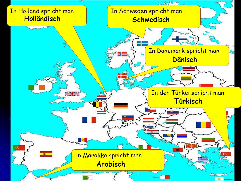In Holland spricht man Holländisch In Dänemark spricht man Dänisch In Marokko spricht man Arabisch In Schweden spricht man Schwedisch In der Türkei sp