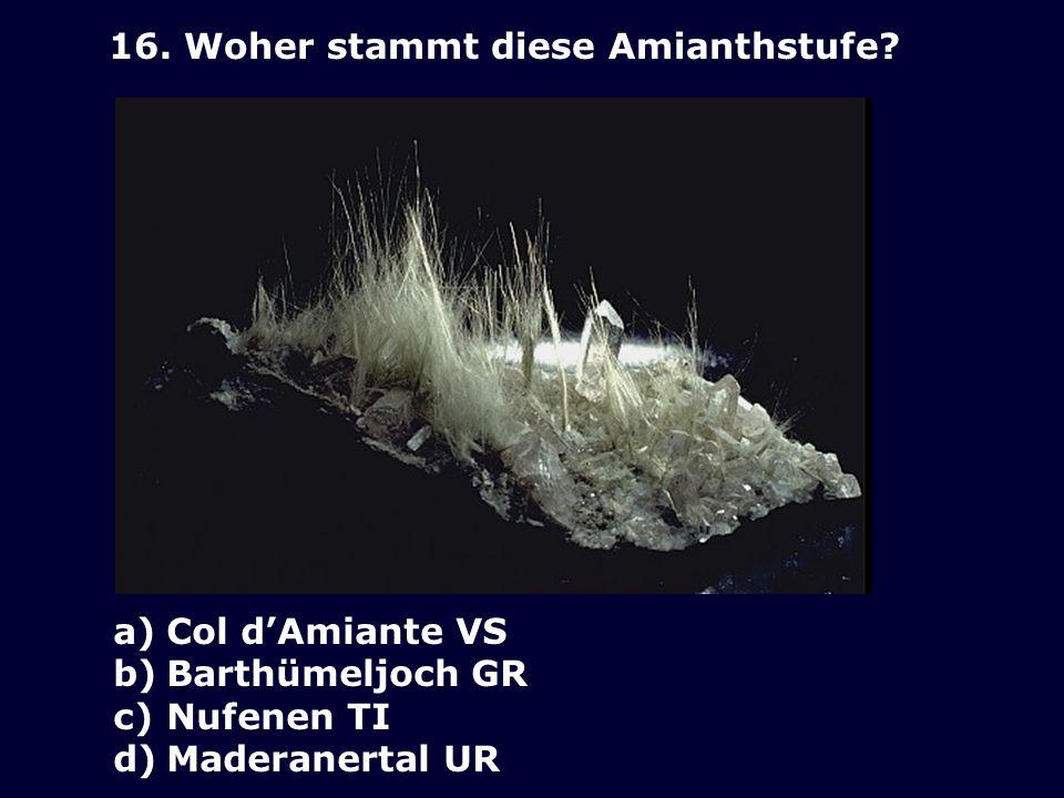 15. Welcher Strahler ist Giusep Venzin? a) b) c) d)