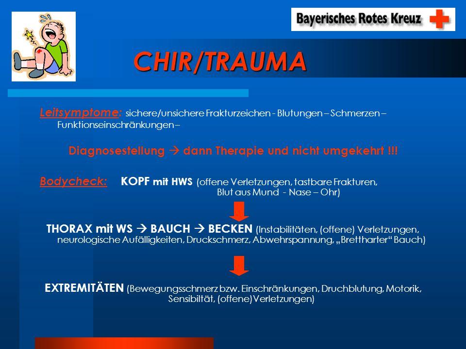 CHIR/TRAUMA Leitsymptome: sichere/unsichere Frakturzeichen - Blutungen – Schmerzen – Funktionseinschränkungen – Diagnosestellung dann Therapie und nic