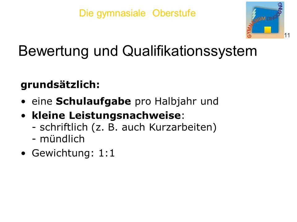 Die gymnasiale Oberstufe 11 Bewertung und Qualifikationssystem grundsätzlich: eine Schulaufgabe pro Halbjahr und kleine Leistungsnachweise: - schriftlich (z.