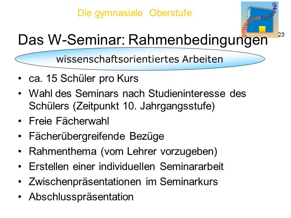 Die gymnasiale Oberstufe 23 Das W-Seminar: Rahmenbedingungen wissenschaftsorientiertes Arbeiten ca.