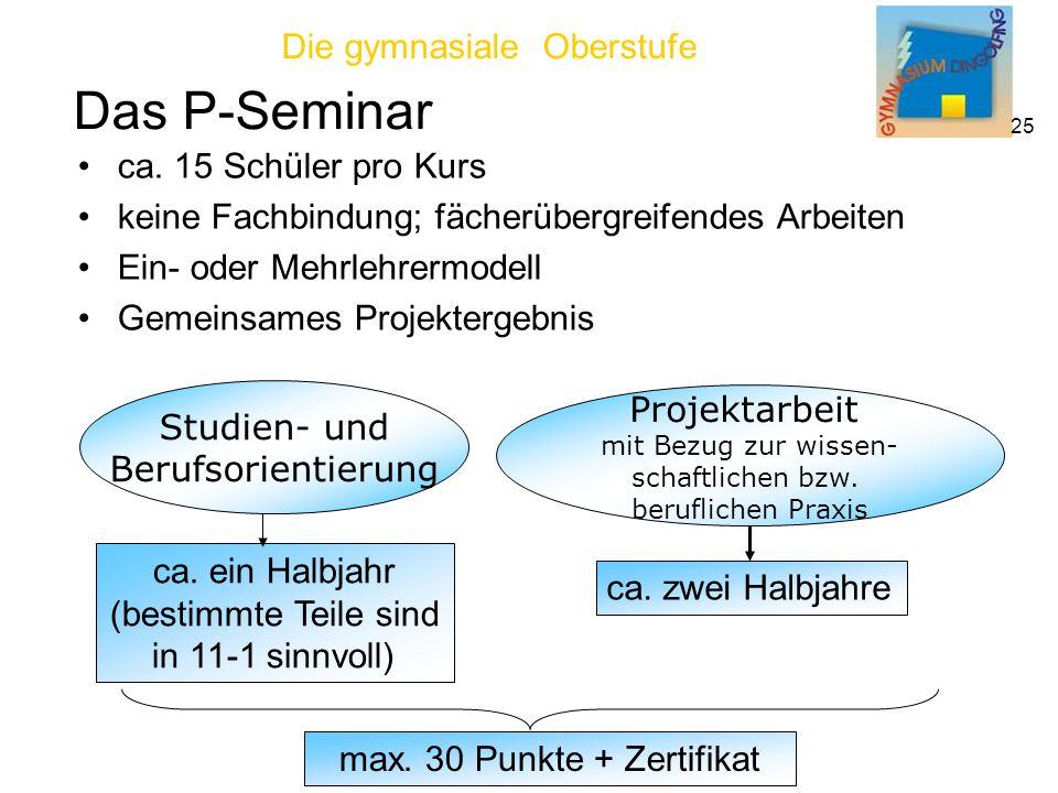 Die gymnasiale Oberstufe 25 Das P-Seminar Studien- und Berufsorientierung Projektarbeit mit Bezug zur wissen- schaftlichen bzw.