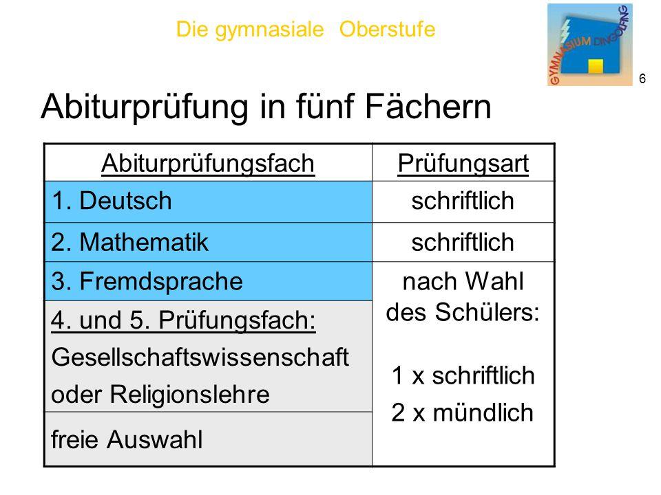 Die gymnasiale Oberstufe 6 Abiturprüfung in fünf Fächern AbiturprüfungsfachPrüfungsart 1.