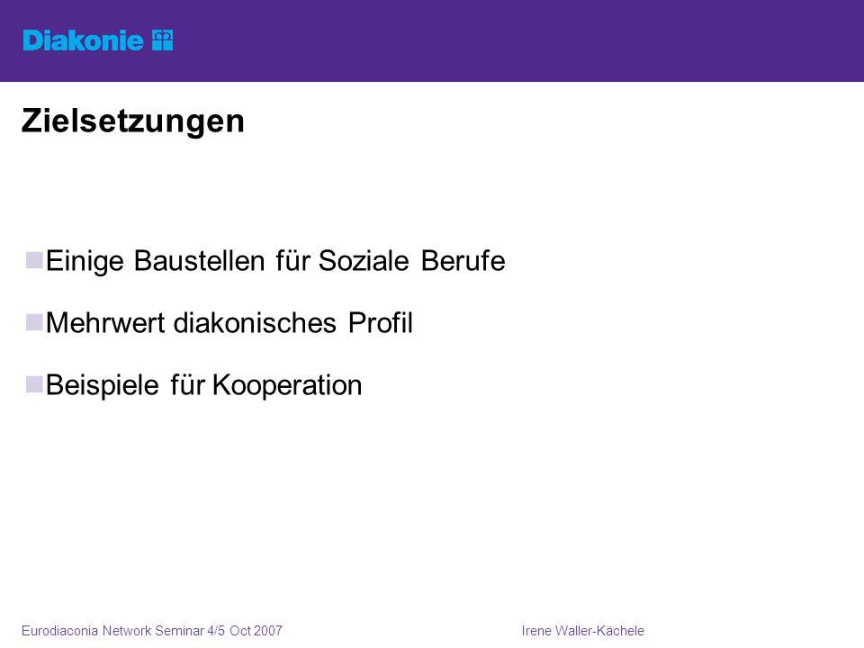 Irene Waller-KächeleEurodiaconia Network Seminar 4/5 Oct 2007 Zielsetzungen Einige Baustellen für Soziale Berufe Mehrwert diakonisches Profil Beispiele für Kooperation