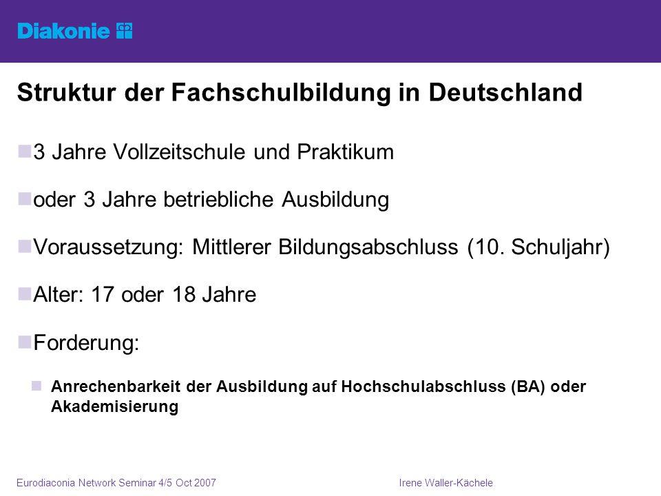 Irene Waller-KächeleEurodiaconia Network Seminar 4/5 Oct 2007 Struktur der Fachschulbildung in Deutschland 3 Jahre Vollzeitschule und Praktikum oder 3 Jahre betriebliche Ausbildung Voraussetzung: Mittlerer Bildungsabschluss (10.