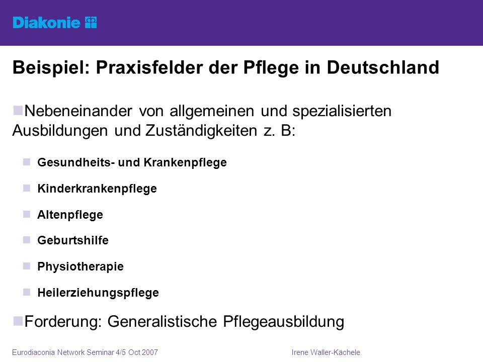 Irene Waller-KächeleEurodiaconia Network Seminar 4/5 Oct 2007 Beispiel: Praxisfelder der Pflege in Deutschland Nebeneinander von allgemeinen und spezialisierten Ausbildungen und Zuständigkeiten z.