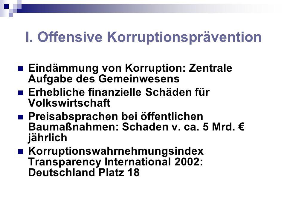 Eindämmung von Korruption: Zentrale Aufgabe des Gemeinwesens Erhebliche finanzielle Schäden für Volkswirtschaft Preisabsprachen bei öffentlichen Bauma