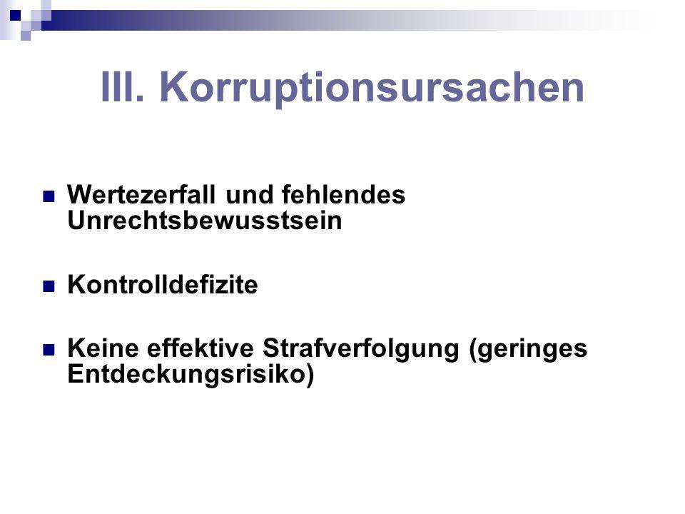 III. Korruptionsursachen Wertezerfall und fehlendes Unrechtsbewusstsein Kontrolldefizite Keine effektive Strafverfolgung (geringes Entdeckungsrisiko)