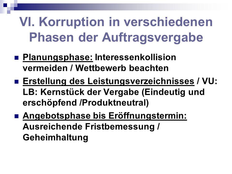 VI. Korruption in verschiedenen Phasen der Auftragsvergabe Planungsphase: Interessenkollision vermeiden / Wettbewerb beachten Erstellung des Leistungs