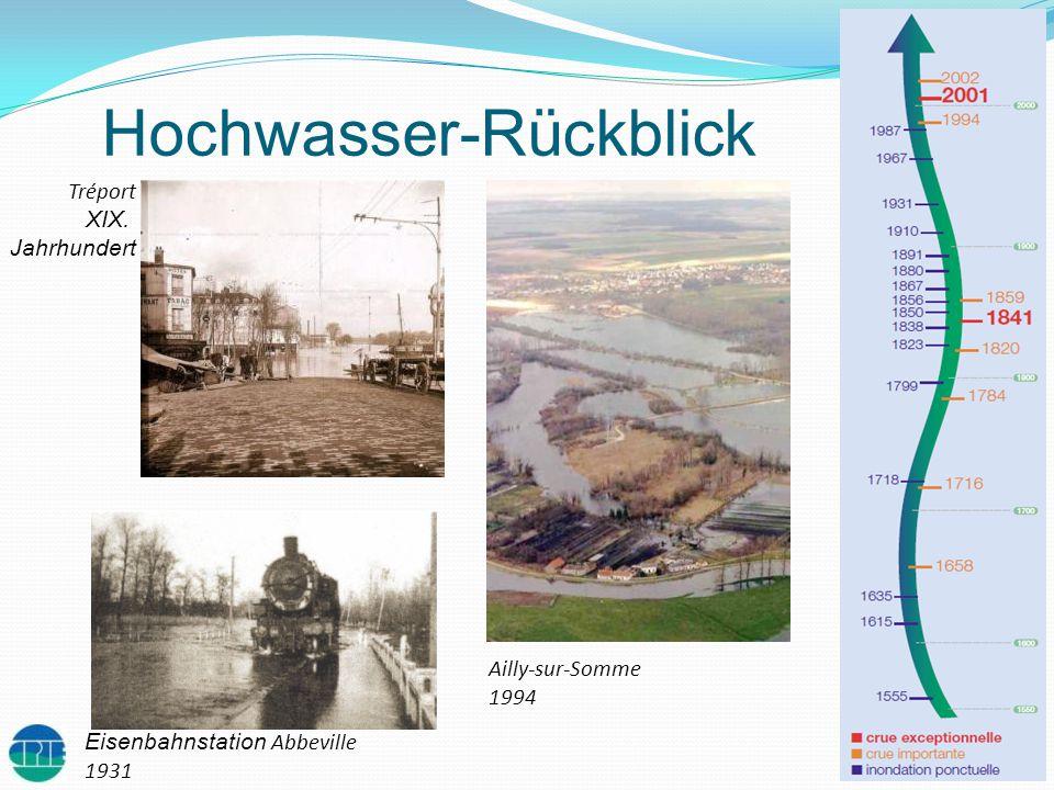 Hochwasser-Rückblick Tréport XIX. Jahrhundert Eisenbahnstation Abbeville 1931 Ailly-sur-Somme 1994