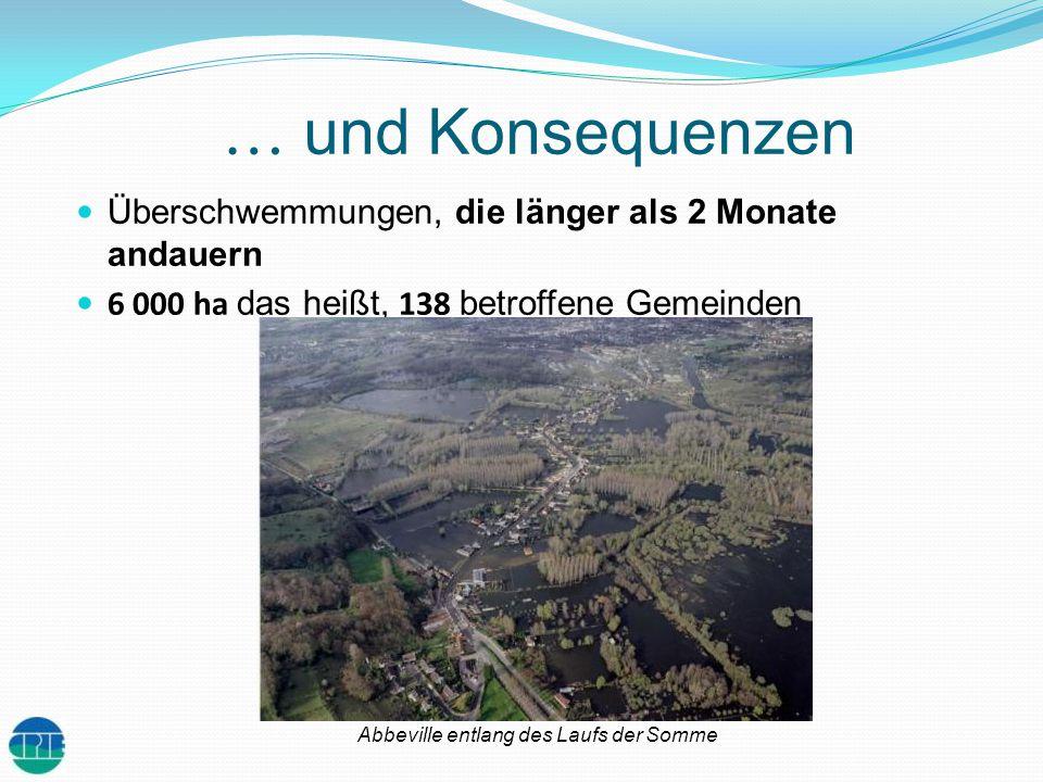 … und Konsequenzen Überschwemmungen, die länger als 2 Monate andauern 6 000 ha das heißt, 138 betroffene Gemeinden Abbeville entlang des Laufs der Som