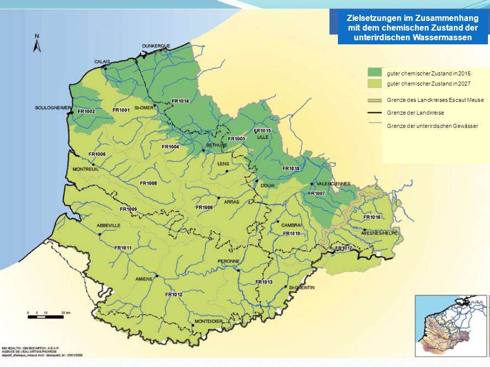 Zielsetzungen im Zusammenhang mit dem chemischen Zustand der unterirdischen Wassermassen guter chemischer Zustand in 2015 guter chemischer Zustand in