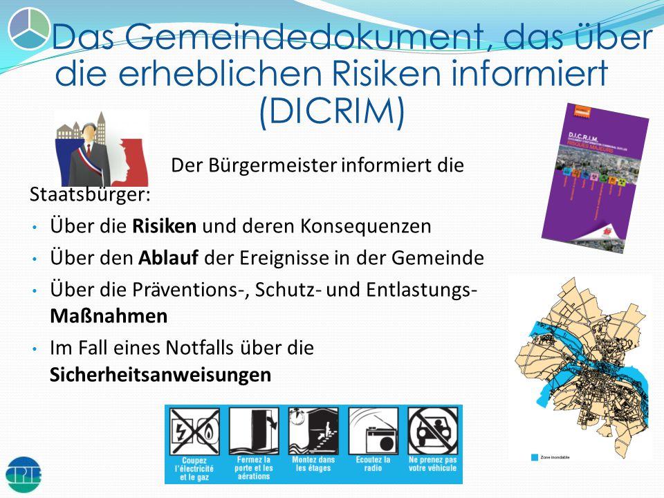 Das Gemeindedokument, das über die erheblichen Risiken informiert (DICRIM) Der Bürgermeister informiert die Staatsbürger: Über die Risiken und deren K