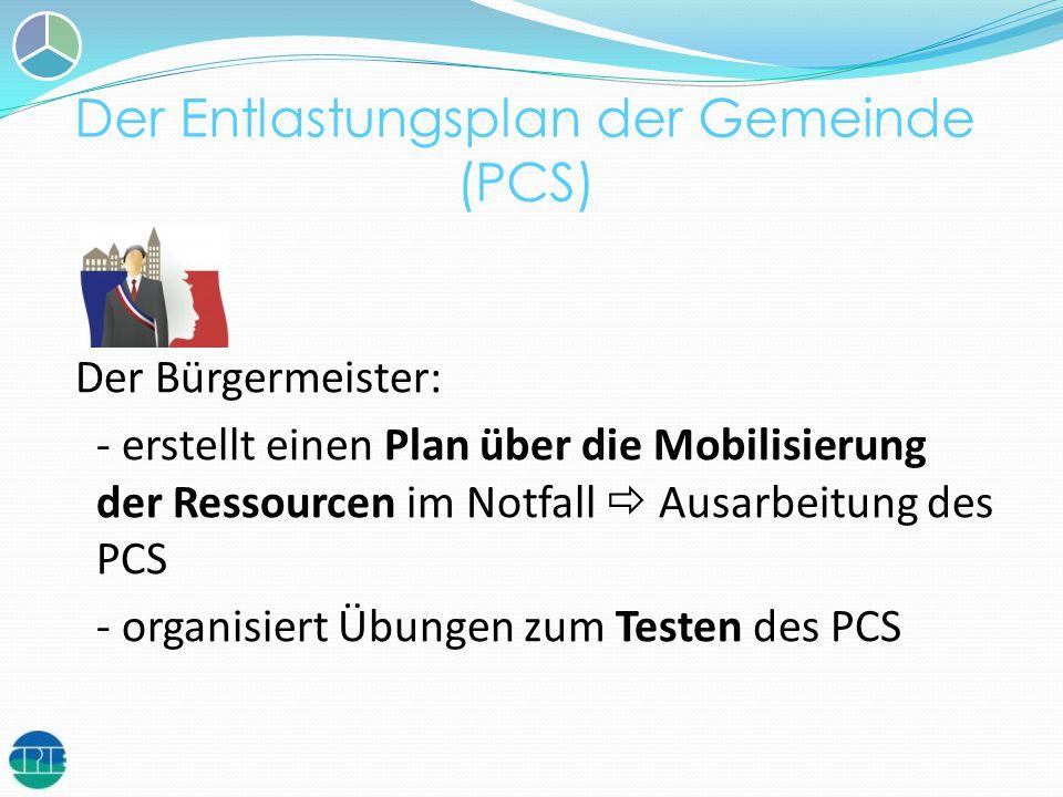 Der Entlastungsplan der Gemeinde (PCS) Der Bürgermeister: - erstellt einen Plan über die Mobilisierung der Ressourcen im Notfall Ausarbeitung des PCS