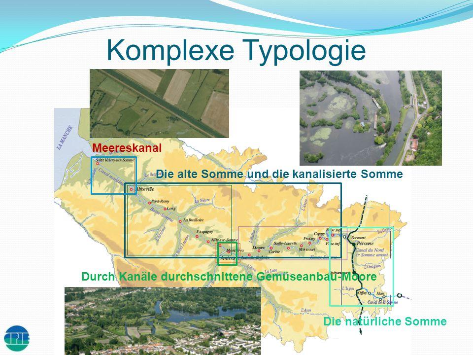 Von einer starken Infrastruktur umgebener Fluss Der Kanal der Somme : 135 km Meereskanal : 15 km 14 Staudämme 25 Schleusen Schleuse Staudamm Mobile Brücke Drehbrücke