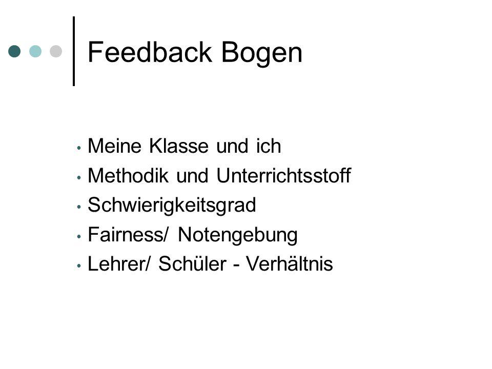 Feedback Bogen Meine Klasse und ich Methodik und Unterrichtsstoff Schwierigkeitsgrad Fairness/ Notengebung Lehrer/ Schüler - Verhältnis