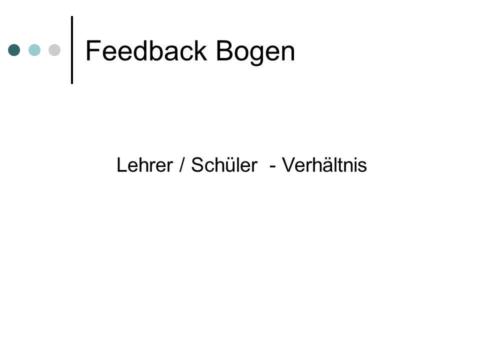 Feedback Bogen Lehrer / Schüler - Verhältnis