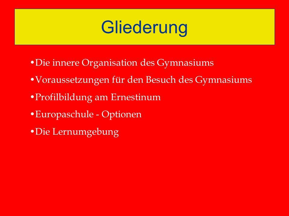 Gliederung Die innere Organisation des Gymnasiums Voraussetzungen für den Besuch des Gymnasiums Profilbildung am Ernestinum Europaschule - Optionen Di