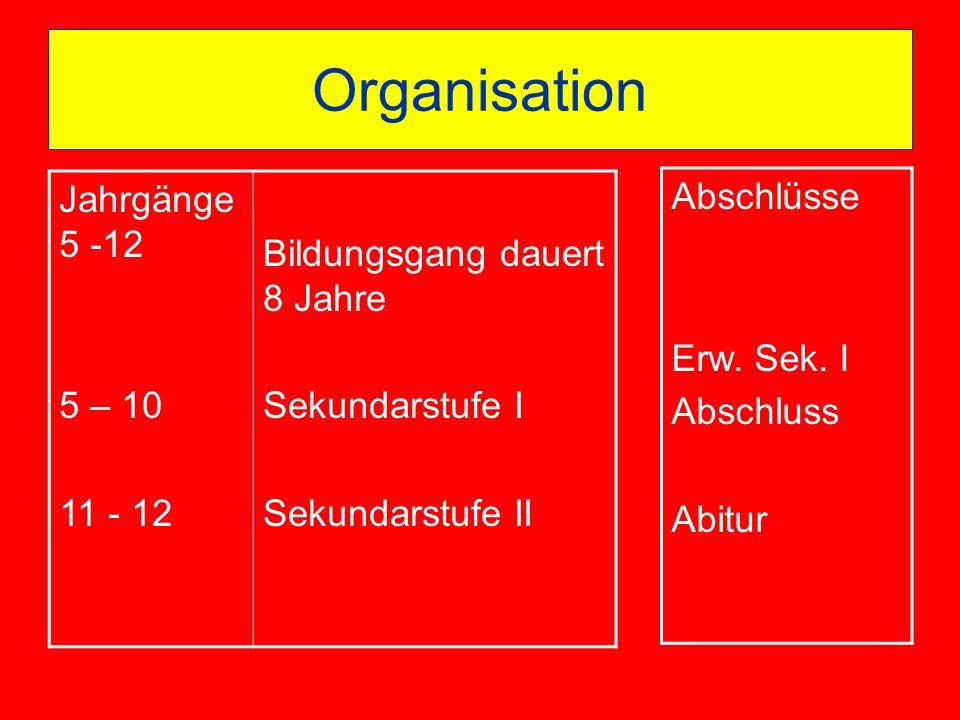 Organisation Jahrgänge 5 -12 5 – 10 11 - 12 Bildungsgang dauert 8 Jahre Sekundarstufe I Sekundarstufe II Abschlüsse Erw. Sek. I Abschluss Abitur