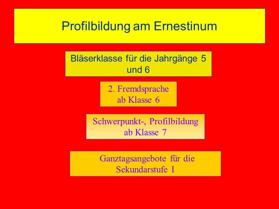 2. Fremdsprache ab Klasse 6 Ganztagsangebote für die Sekundarstufe I Profilbildung am Ernestinum Schwerpunkt-, Profilbildung ab Klasse 7 Profilbildung