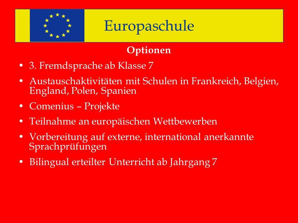 Europaschule Optionen 3. Fremdsprache ab Klasse 7 Austauschaktivitäten mit Schulen in Frankreich, Belgien, England, Polen, Spanien Comenius – Projekte