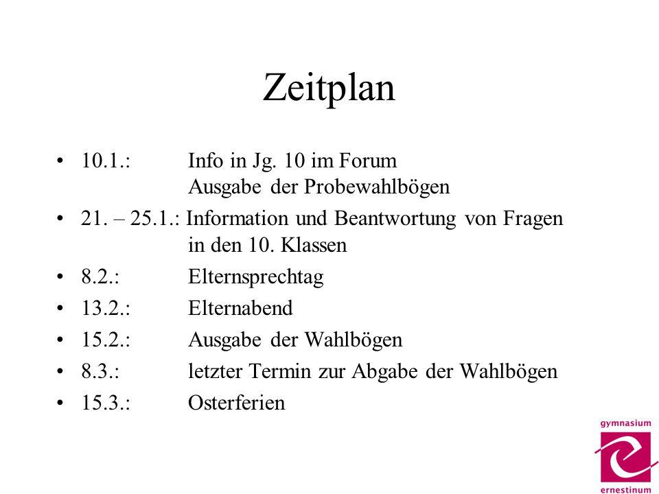 Zeitplan 10.1.:Info in Jg. 10 im Forum Ausgabe der Probewahlbögen 21. – 25.1.: Information und Beantwortung von Fragen in den 10. Klassen 8.2.: Eltern