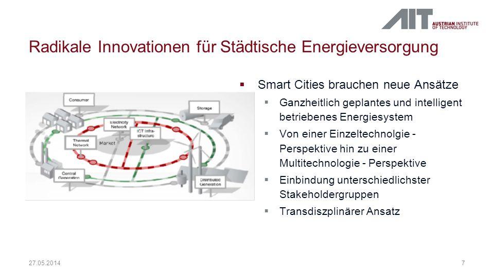 Radikale Innovationen für Städtische Energieversorgung 7 27.05.2014 Smart Cities brauchen neue Ansätze Ganzheitlich geplantes und intelligent betriebe