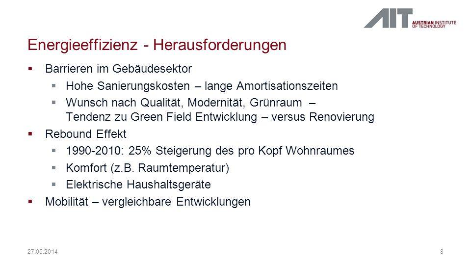 Energieeffizienz - Herausforderungen 8 27.05.2014 Barrieren im Gebäudesektor Hohe Sanierungskosten – lange Amortisationszeiten Wunsch nach Qualität, M