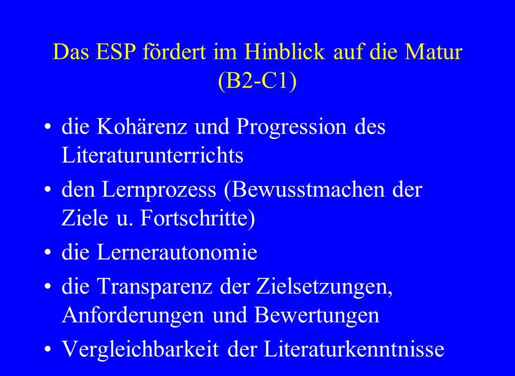 Das ESP fördert im Hinblick auf die Matur (B2-C1) die Kohärenz und Progression des Literaturunterrichts den Lernprozess (Bewusstmachen der Ziele u.